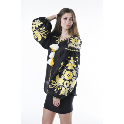 "Boho Style Ukrainian Embroidered Folk  Blouse ""Boho Birds"" yellow on black"