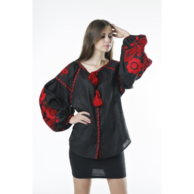 "Boho Style Ukrainian Embroidered Folk  Blouse ""Boho Birds"" red on black"