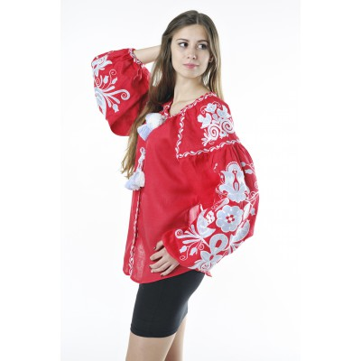 "Boho Style Ukrainian Embroidered Folk  Blouse ""Boho Birds"" gray on red"