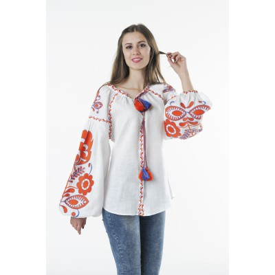 "Boho Style Ukrainian Embroidered Folk  Blouse ""Boho Birds"" orange on white"