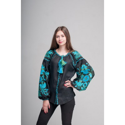 "Boho Style Ukrainian Embroidered Folk  Blouse ""Boho Birds"" blue/green on black"