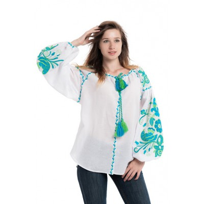 "Boho Style Ukrainian Embroidered Folk  Blouse ""Boho Birds"" blue/green on white"