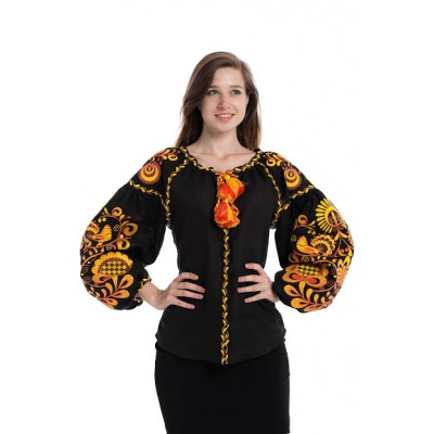 "Boho Style Ukrainian Embroidered Folk  Blouse ""Life Tree"" orange on black"