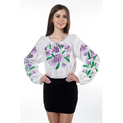 "Boho Style Ukrainian Embroidered Folk Blouse ""Glo"" Mallows"