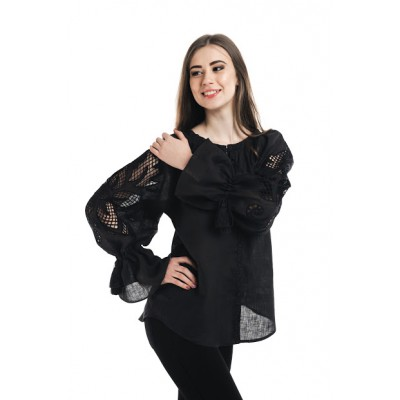 "Boho Style Ukrainian Embroidered Folk  Blouse ""Richelieu"" black"