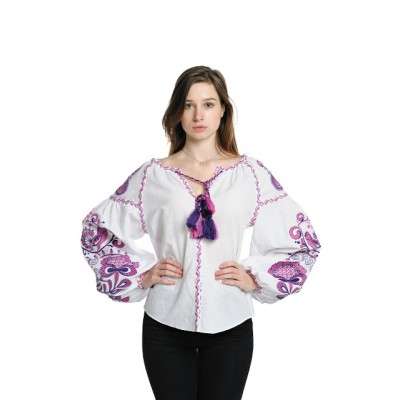 "Boho Style Ukrainian Embroidered Blouse ""Tree of Life"" purple on white"