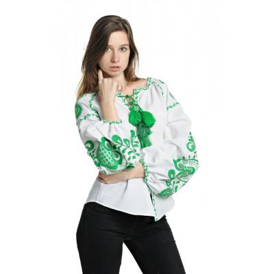 "Boho Style Ukrainian Embroidered Blouse ""Tree of Life"" green on white"