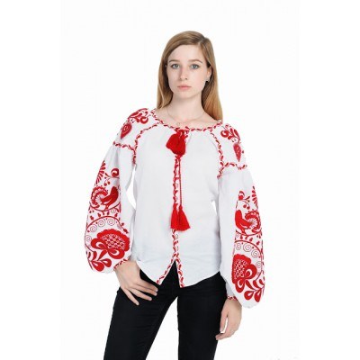 "Boho Style Ukrainian Embroidered Blouse ""Tree of Life"" red on white"