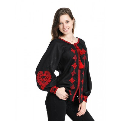 "Boho Style Ukrainian Embroidered Blouse ""Heart"" red on black"