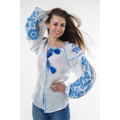 "Boho Style Ukrainian Embroidered Folk  Blouse ""Boho Flowers"" blue on white"
