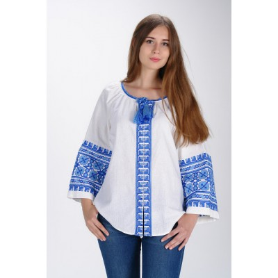 "Boho Style Ukrainian Embroidered Blouse ""Carpathian Flower"" blue on white"