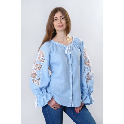 "Boho Style Ukrainian Embroidered Blouse ""Richelieu"" gentle blue"