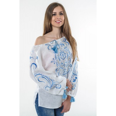 "Boho Style Ukrainian Embroidered Folk  Blouse ""Magic Herbs"" blue on white"