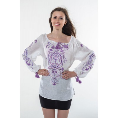 "Boho Style Ukrainian Embroidered Folk  Blouse ""Magic Herbs"" purple on white"