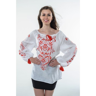 "Boho Style Ukrainian Embroidered Folk  Blouse ""Magic Herbs"" red on white"