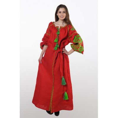 "Boho Style Ukrainian Embroidered Dress ""Boho Flowers"" green on red"