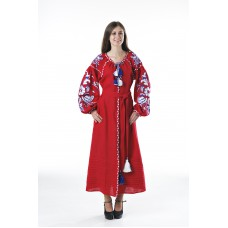 "Boho Style Ukrainian Embroidered Dress ""Boho Birds"" white/blue on red"