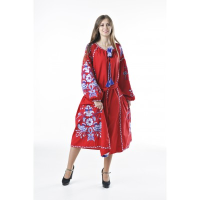 "Boho Style Ukrainian Embroidered Dress ""Boho Birds Plus"" white/blue on red"