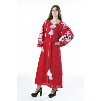 "Boho Style Ukrainian Embroidered Dress ""Boho Birds Plus"" white on red"