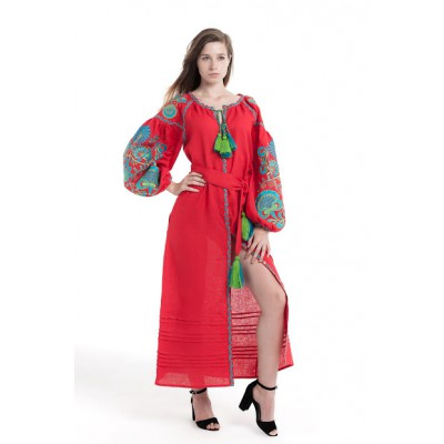 "Boho Style Ukrainian Embroidered Dress ""Life Tree"" green/blue on red"