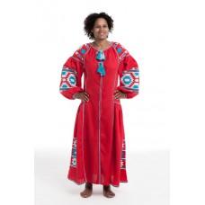 """Boho Style Ukrainian Embroidered Dress """"Sunrise"""" white/blue on red"""
