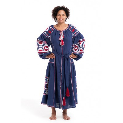 "Boho Style Ukrainian Embroidered Dress ""Sunrise"" white/red on navy blue"