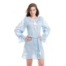 """Boho Style Ukrainian Embroidered Short Dress """"Flower"""" white"""