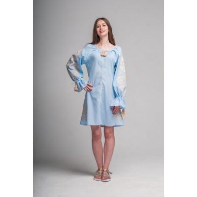 "Boho Style Ukrainian Embroidered Short Dress ""Flower"" pink"