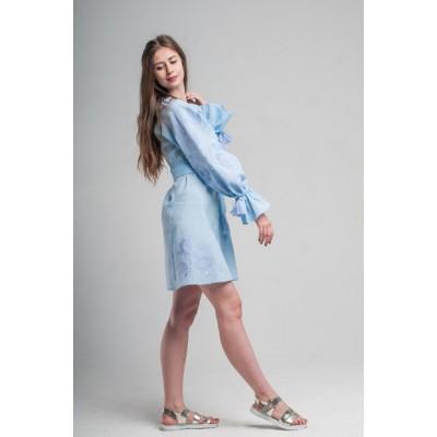 "Boho Style Ukrainian Embroidered Short Dress ""Flower"" blue"