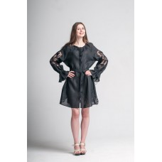 "Boho Style Ukrainian Embroidered Dress ""Richelieu"" black"