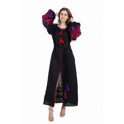 "Boho Style Ukrainian Embroidered Dress ""Boho Birds"" red on black"