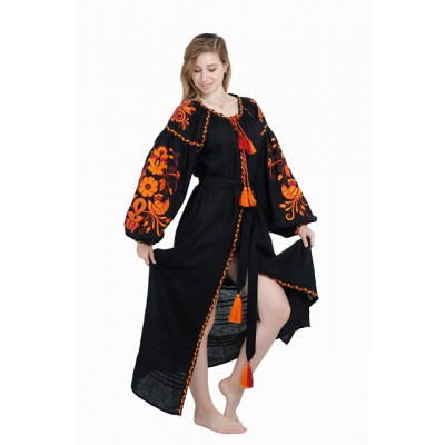 "Boho Style Ukrainian Embroidered Dress ""Fiery Bird"" orange on black"