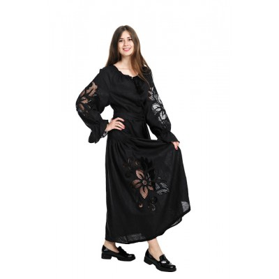 "Boho Style Ukrainian Embroidered Dress ""Richelieu"" maxi black"
