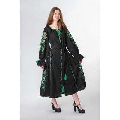 "Boho Style Ukrainian Embroidered Dress ""Richelieu"" maxi green on black"