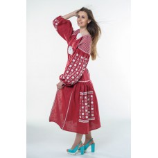 "Boho Style Ukrainian Embroidered Dress ""Starry Sky"" white on maroon"