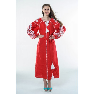 "Boho Style Ukrainian Embroidered Dress ""Boho Flowers"" white on red"