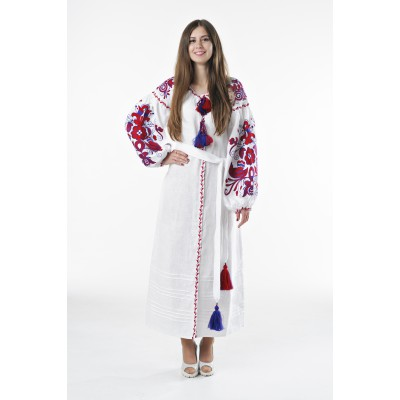 "Boho Style Ukrainian Embroidered Dress ""Boho Birds"" red on white"