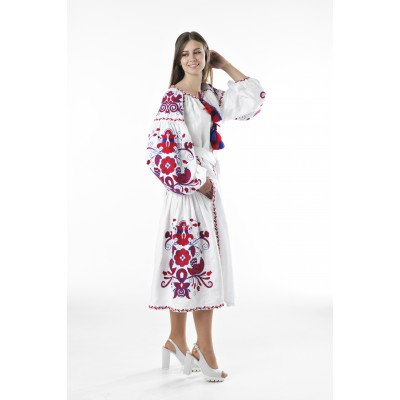 "Boho Style Ukrainian Embroidered Dress ""Boho Birds Plus"" red on white"