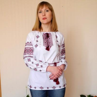 Embroidery Roses Homespun Cloth Cross-Stitch Style Moda Ukrainian Embroidery Women/'s Shirts Blouse