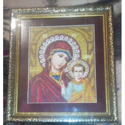 Kazan Mother Mary Beads Embroidered Icon
