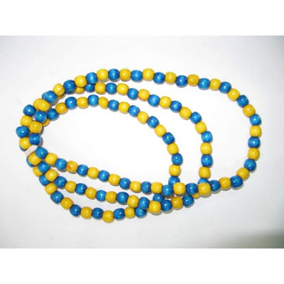 Wooden Necklace+Bracelet Yellow and Blue