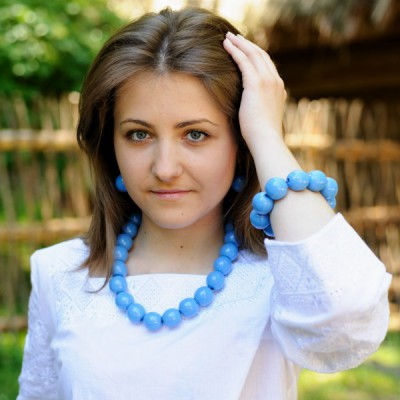 Wooden Necklace + Bracelet + Earrings Blue