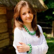 Wooden Necklace + Bracelet + Earrings Green
