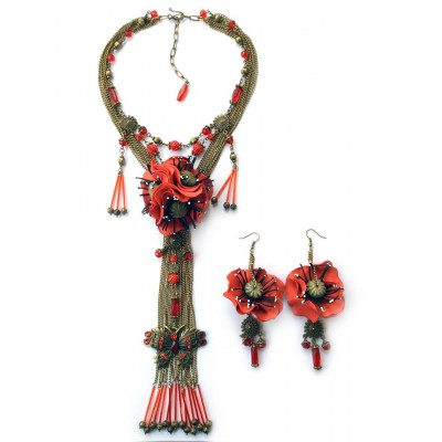 "Jewellery set ""Poppies on Bronze"""