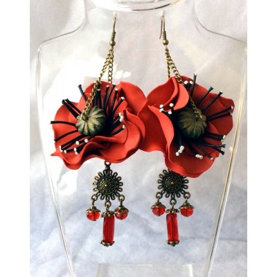 "Earrings ""Poppies on Bronze"""