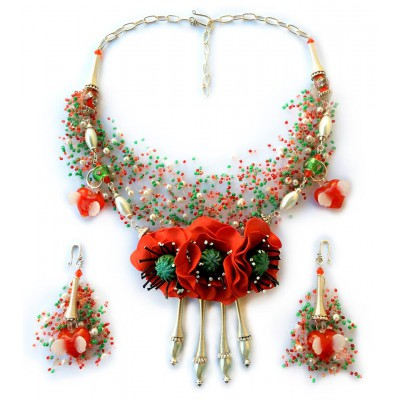"Jewellery set ""Poppies, Pearls and Love"""