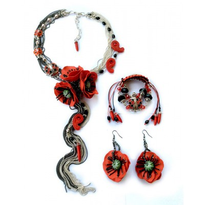 "Jewellery set ""Poppies Scarlett"""