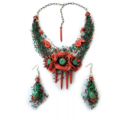 "Jewellery set ""Poppies Field"""