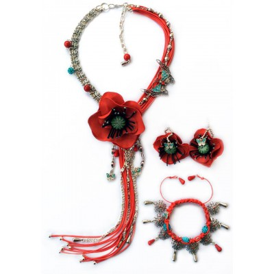 "Jewellery set ""Poppies on Grassland"""