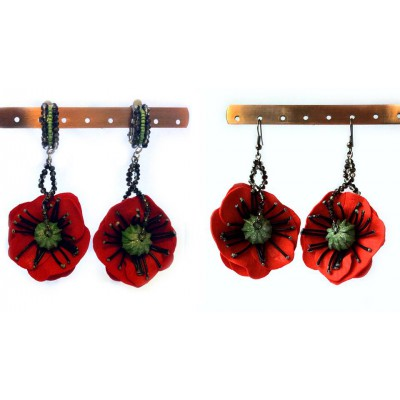 "Earrings/clips ""Poppies Scarlett"""